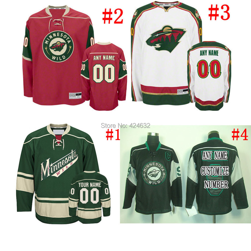 Own your design NO. &amp; Name minnesota wild Jerseys or blank home/away Sewn On Embroidery logos Only part of your Retail<br><br>Aliexpress
