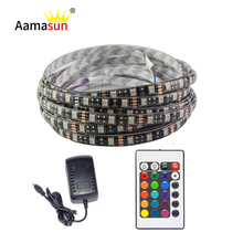 Buy 5050 LED Strip RGB DC 12V Black PCB 5M 60led/m IP65 Waterproof Flexible Tape Light +24Key Controller+12V 3A Power Adapter supply for $11.99 in AliExpress store