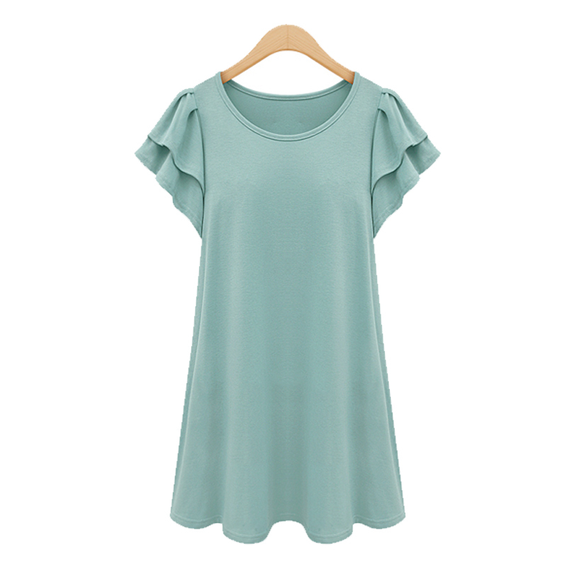 Europe and America Large Size Women's Fashion Loose Plus Size Short Sleeve Dress Weight 50-105 Kg(China (Mainland))