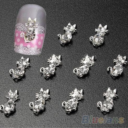 10 Pcs adorável Cat Rhinestone cristal dicas Nail Art Glitters decoração DIY 3D 0BPL