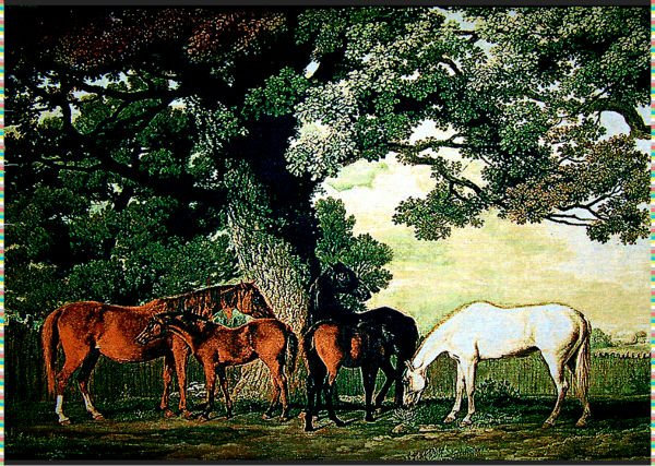 Free shipping World famous art picture,fabric decoration picture woven by jacquard machine,horses under the oakes,40x80cm(China (Mainland))