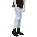 New Pleated Washed Damage Jeans Men Brand Original Design Knee Hole Beam Foot Jeans Jogger Ripped