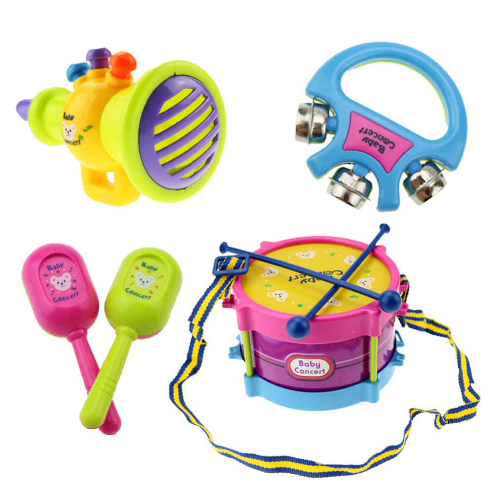 Hot Selling Newest 5pcs Educational Baby Kids Roll Drum Musical Instruments Band Kit Children Toy Gift Set New Free Shipping(China (Mainland))
