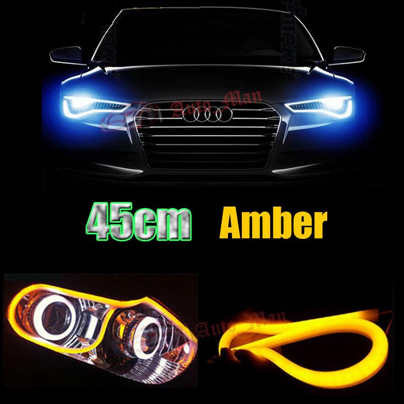2x 45cm Yellow DRL Daytime Running Light Tube Style Flexible LED Strip for Car Motor Headlight Angel Eyes Universal Retrofit(China (Mainland))