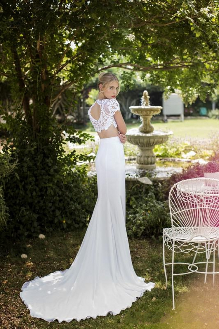 2 Piece Beach Wedding Dresses : Summer chiffon beach wedding dress high neck lace bodice two piece