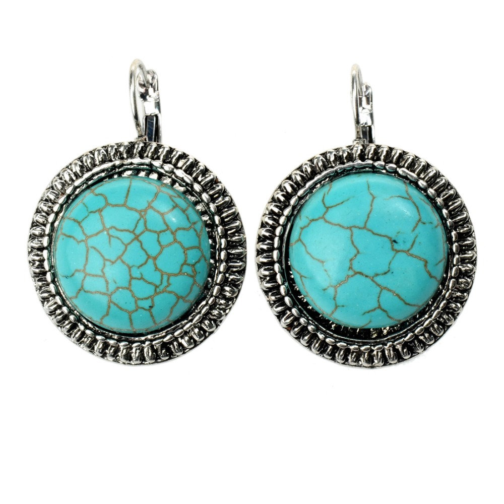 2016 New Arrivals Womens Grils Fashion Accessories Round Design Turquoise Earrings Sliver Plated Jewelry(China (Mainland))