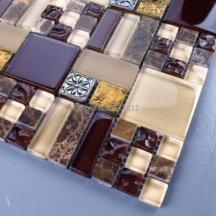 Здесь можно купить  brown crystal glass mixed stone mosaic tiles HMGM1140 for kitchen backsplash decoration bathroom free shipping  Строительство и Недвижимость