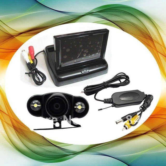 "Car Wireless backup camera kit , Wireless reversing camera( Night vision)+ Transmitter+4.3"" Foldable LCD Monitor+Receiver"