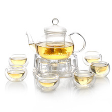 1  ECO-friendly Heat Reistant Glass Teapot  600ml + 1 Warmer Base + 6 Double  Tea Cups 8pcs/ Set  Coffee&Tea Set