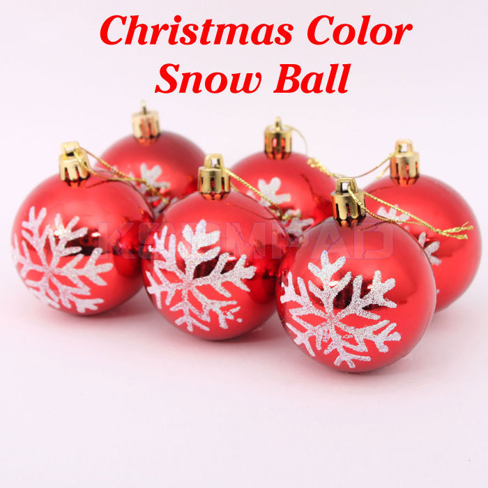 6 pcs/lot Xmas snow ball 6 cm free shipping Christmas decoration gift suitable for Christmas celebrating(China (Mainland))