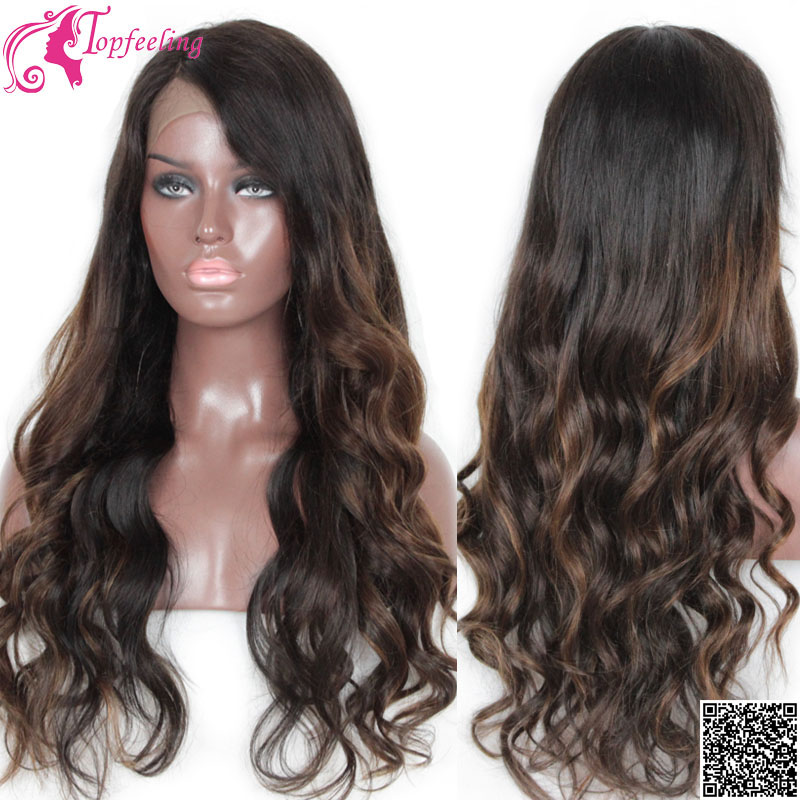 Top Quality 7A Peruvian Virgin Hair Lace Front Wigs Ombre Lace Wigs Body Wave Glueless Full Lace Human Hair Wigs For Black Women(China (Mainland))