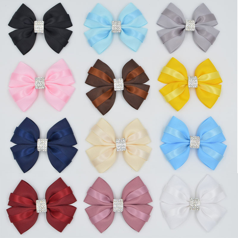 New Design High Ribbon crystal Diamonds Boutique girl women Hair Bows Clip Hairpins Hair Accessories Barrettes