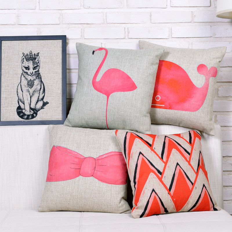 2016 Pink Series Cotton Linen Pillowcase Valentine Gift Pink Pillow Cushions Decorative Pillows ...