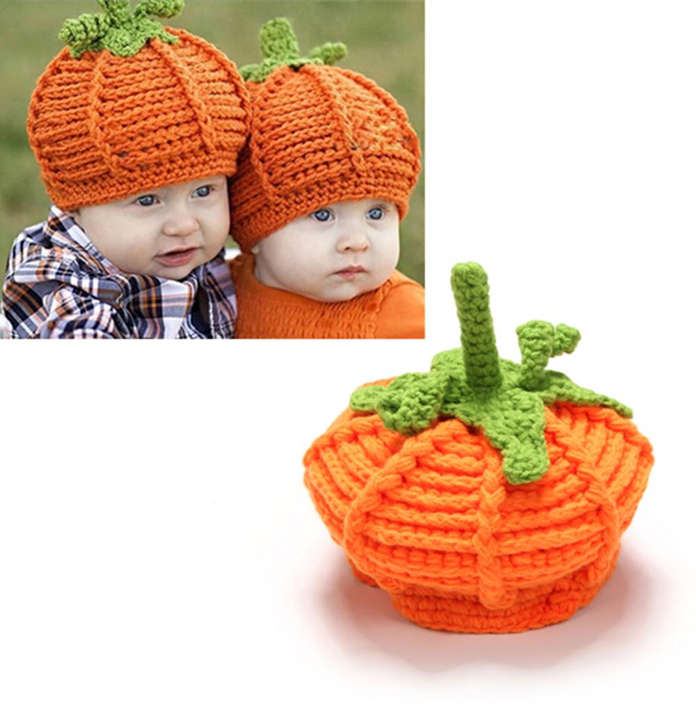 Lovely Baby Pumpkin Handmade knitted Hat Children Halloween Crochet Caps Gift Baby Photo Props 1pc HT58(China (Mainland))