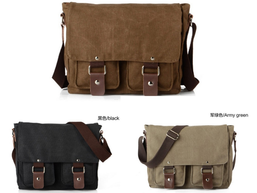 "Men's Vintage Canvas School Satchel Shoulder Messenger Bag 11"" Laptop Bag Small(China (Mainland))"
