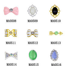 10Pcs/Lot Bownot Shape Oval Design Special Rhinestones Alloy Nail Charms 3D Nail Art Decorations Wholesale Retail MA0508-MA0516(China (Mainland))
