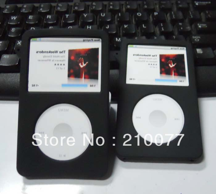 Free Shipping 2PCS/LOT Black Silicone Skin Soft Cover Case for iPod Classic 80GB 120GB New Classic 160G 3rd(China (Mainland))