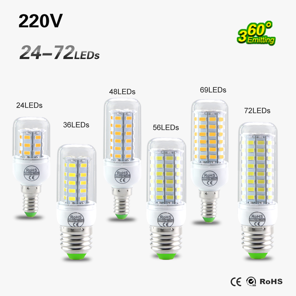 SMD 5730 E27 E14 LED Lamp 5730SMD LED Lights Corn Led Bulb 24 36 48 56 69 72Leds Chandelier Candle Lighting Home Decoration(China (Mainland))