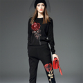 Best Quality Black Cotton Long Sleeve Sweater Full Length Pencil Trousers Women Suits with Big Red