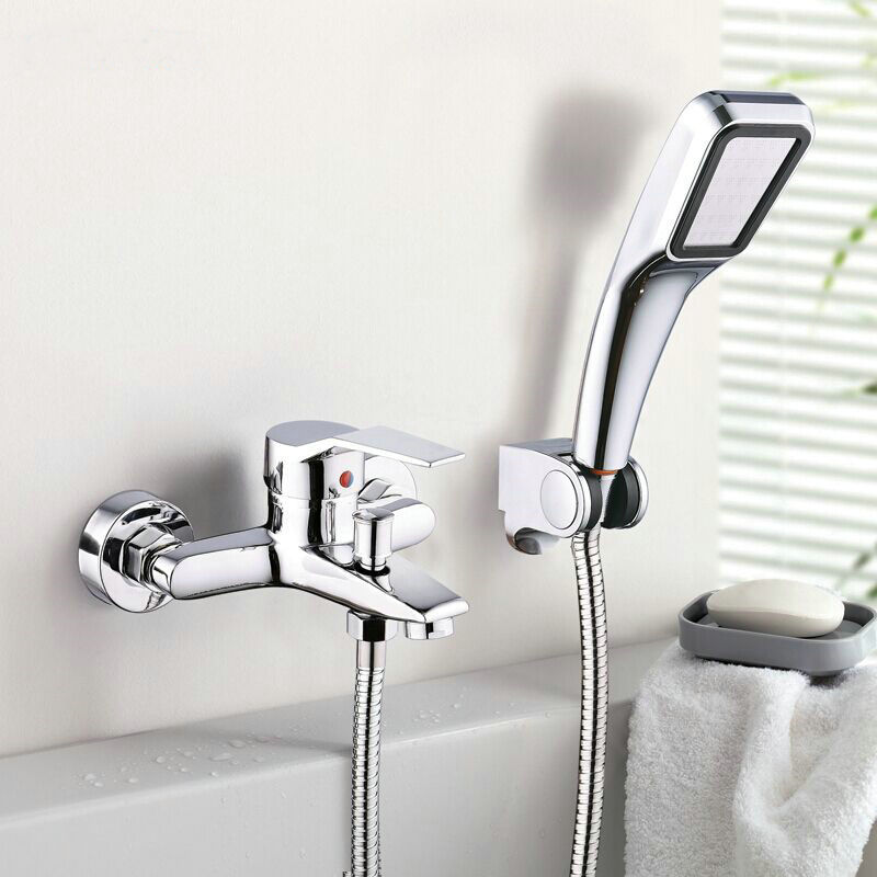Wall Mounted Bathroom Faucet Bath Tub Mixer Tap With Hand Shower Head Shower
