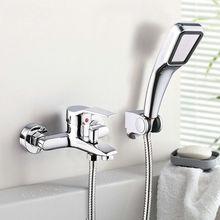 Wand Befestigter Bad Wasserhahn Badewanne Mischbatterie Mit Hand Duschkopf Dusche Wasserhahn(China (Mainland))