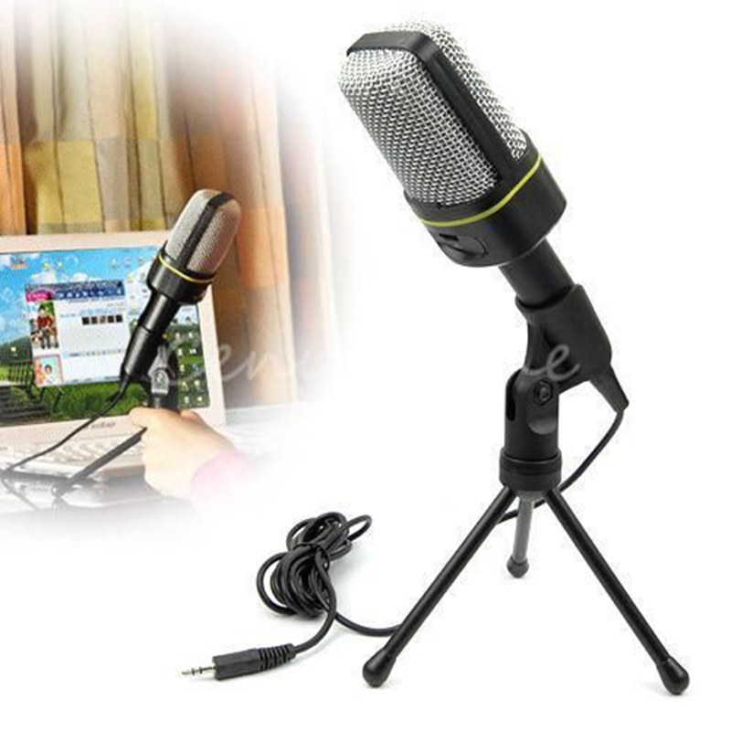 universal 3.5mm Multimedia Stereo Bass Sing Music Studio Condenser Wired Microphone+Tripod Stand for PC Computer Laptop Notebook(China (Mainland))