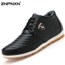 2015 New Men Shoes Casual Winter Fur Shoes Men Flats Black PU Leather Shoes For Men Boots Zapatos Hombre