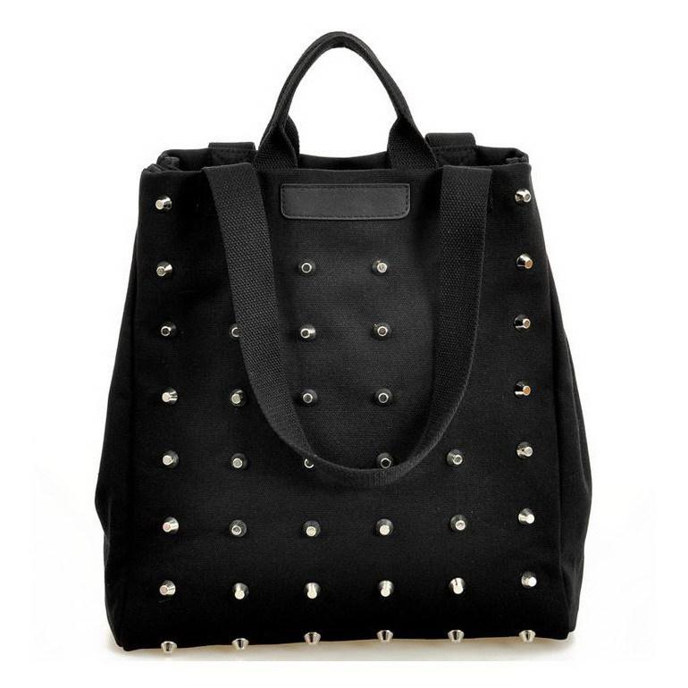 2015 Fashion Unique Punk Women Canvas Handbags Vintage Rivet Top-Handle Shoulder Bag Tote Black Ladies Shopper Bag(China (Mainland))