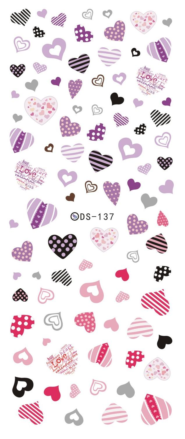 DS137 2015 New Water Transfer Nails Art Sticker Purple Rose Hearts Element Nail Wrap Sticker Tips Manicura nail art decorations<br><br>Aliexpress