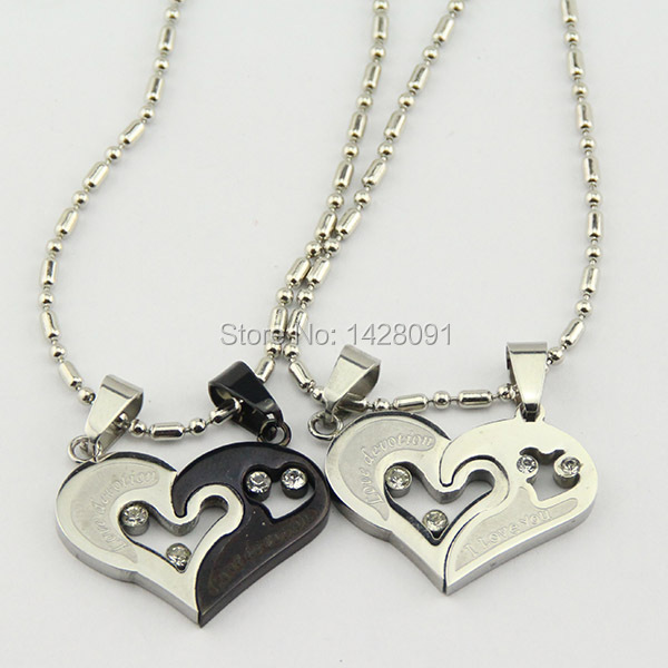 His and Hers Stainless Steel I Love You Heart Men Women Couple Pendant Necklaces(China (Mainland))