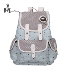 Buy Women canvas backpack schoolbag girls women travel backpack cute dot printed drawstring canvas backpack school backpack girl for $22.21 in AliExpress store