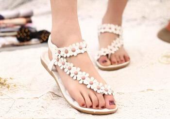 2015 bohemia sandals for women summer shoes women flip beaded flower flip-flop flat sandals 36-39 White Khaki Flower Cheap Shoes(China (Mainland))