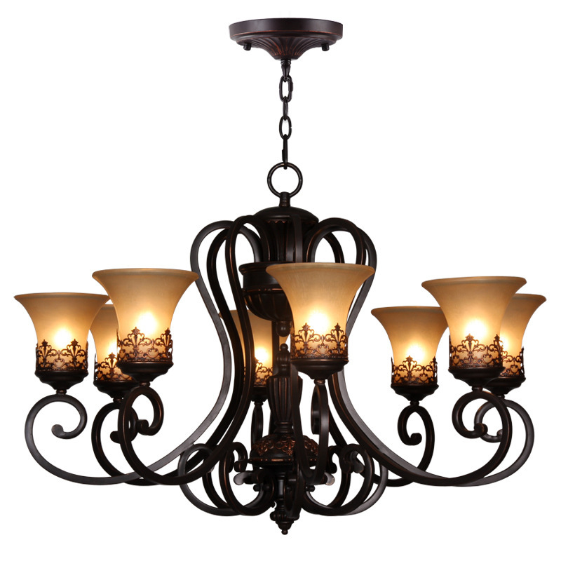 Continental Iron 8 restaurants selling American pastoral living room chandelier lighting manufacturers in(China (Mainland))