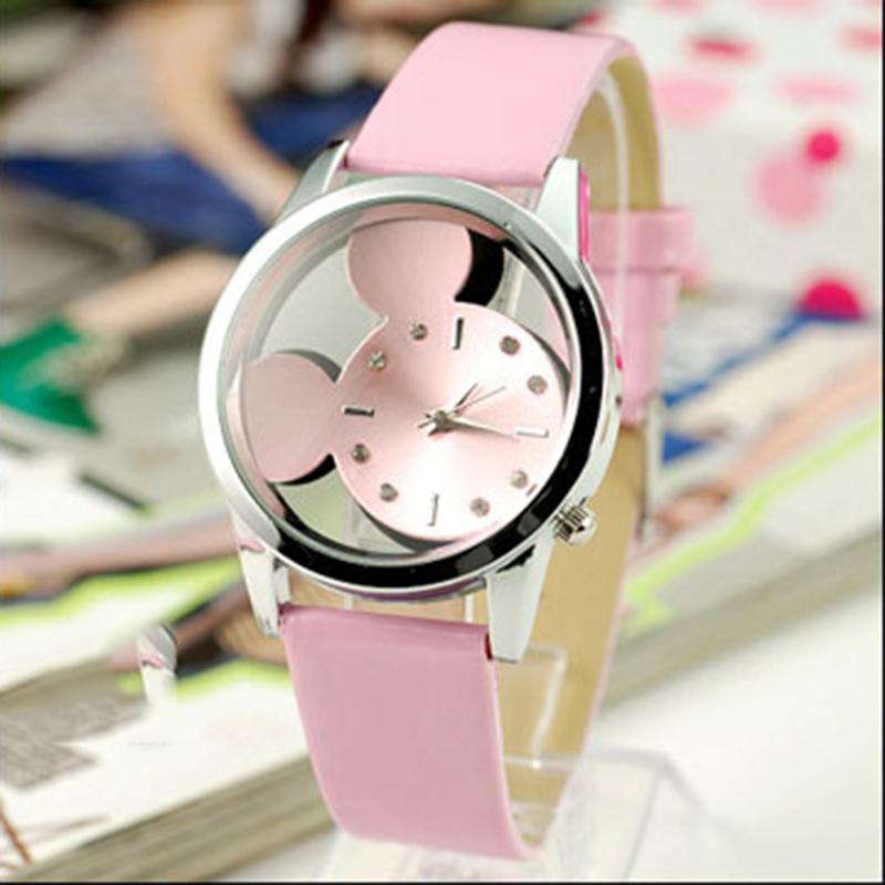 Гаджет  Fashion Mickey Women Watches 2015 quartz casual transparent hollow dial leather wristwatches women dress watch relogio feminino None Часы