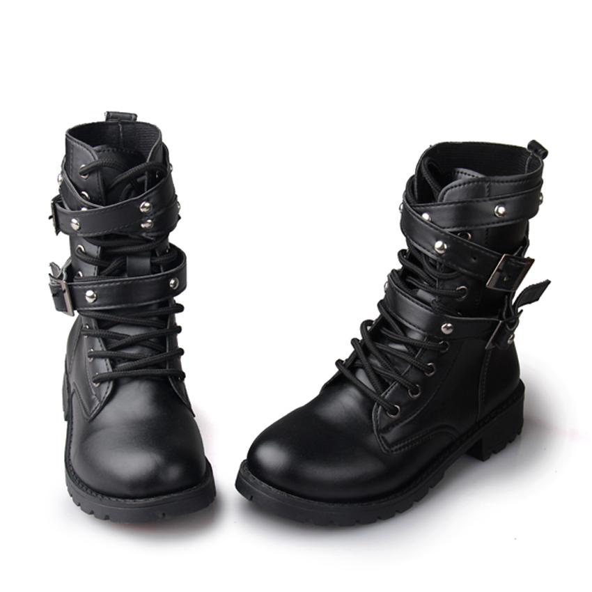 New Punk Combat Boots Women Women Black Leather Punk Lace