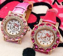 Buy Top Fashion Brand Hello Kitty Quartz Watch Children Girl Women Leather Crystal Wrist Watch Wristwatch Cut Lovely for $2.91 in AliExpress store