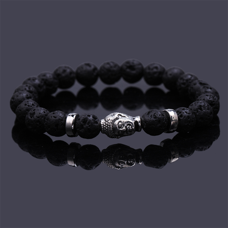 Pulseras mujer black Lava stone buddha beads bracelet elastic charm bracelet rope chain Natural stone for men and women jewelry(China (Mainland))