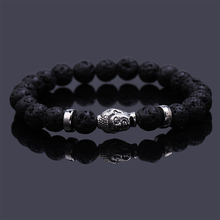 Pulseras mujer black Lava stone buddha bracelet elastic bracelets rope chain Natural stone bracelet for men and women jewelry