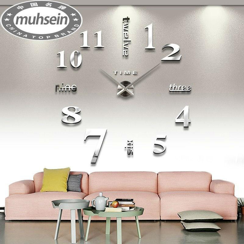 fashion 3D big size wall clock mirror sticker DIY brief living room decor meetting room wall clock()