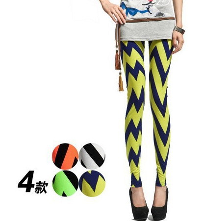 Nine Points Women Pants 2015 Wave Fluorescent Color Printing Cultivate One's Morality Leggings Large Size Nine Minutes Of Pants(China (Mainland))