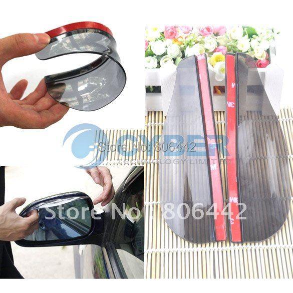 Free Shipping 2 Car Rain Shield Rear View Side Mirror Rain Shield Shower Blocker Cover Sun Visor Shade Guard 24