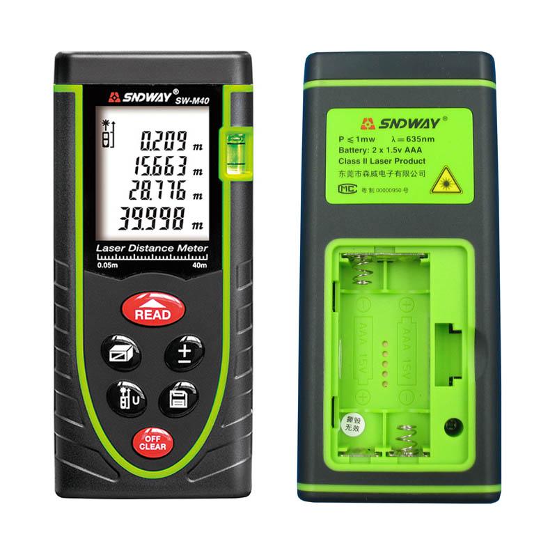40M Digital Laser distance meter Bubble level Rangefinder Range finder Tape measure Area/Volume M/Ft/in Tool