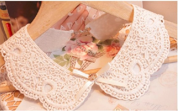 2105 Populares vintage fake false collar crocheted lace collares mujer necklace flowers detachable collars decoration necklaces - Nelson Dream Shop store