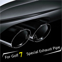 2pcs Stainless Steel Exhaust Muffler Tail Pipes For VW Golf MK7 MKVII 1.4T(China (Mainland))