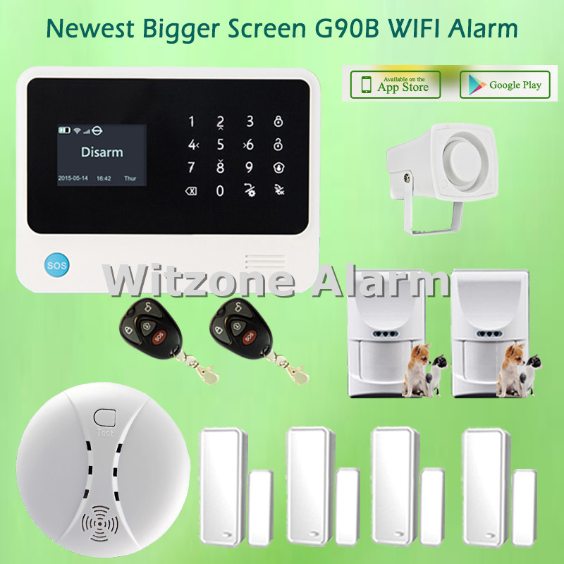 Android IOS Smartphone APP Control WIFI GSM Alarm G90B Pet Friendly Home Alarm System, Free Shipping(China (Mainland))