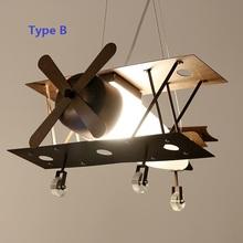 vintage Iron Plane Kids Pendant Light Fixtures Children's Bedroom Lamparas Novelty Child Hanging Lamp110V 220V Lighting Pendant