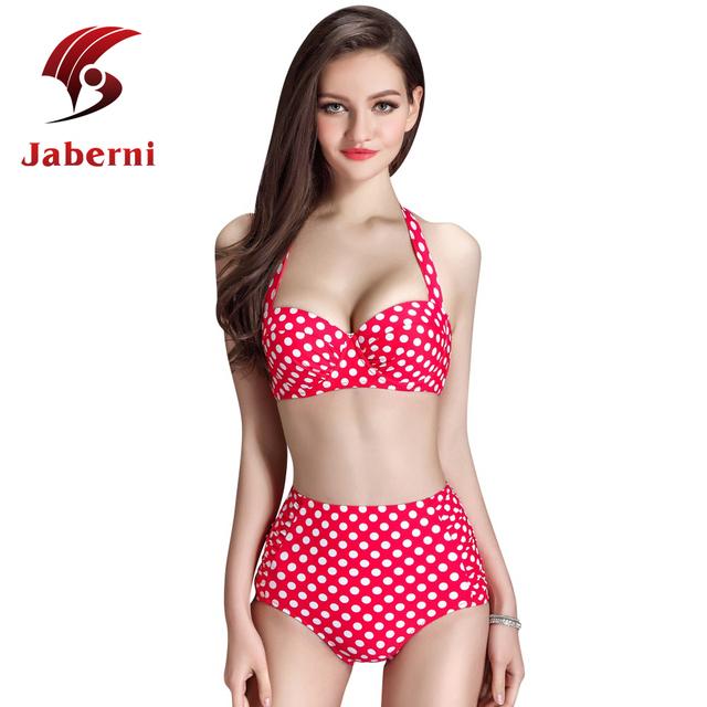 Сладкий симпатичные женщины мода росту комплект бикини корейский улица горошек купальники высокая талия пляж носите ремень Biquini