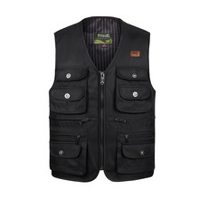 Male Outdoor Vest Casual Loose Plus Size Black Men Vest With Many Pockets(China (Mainland))