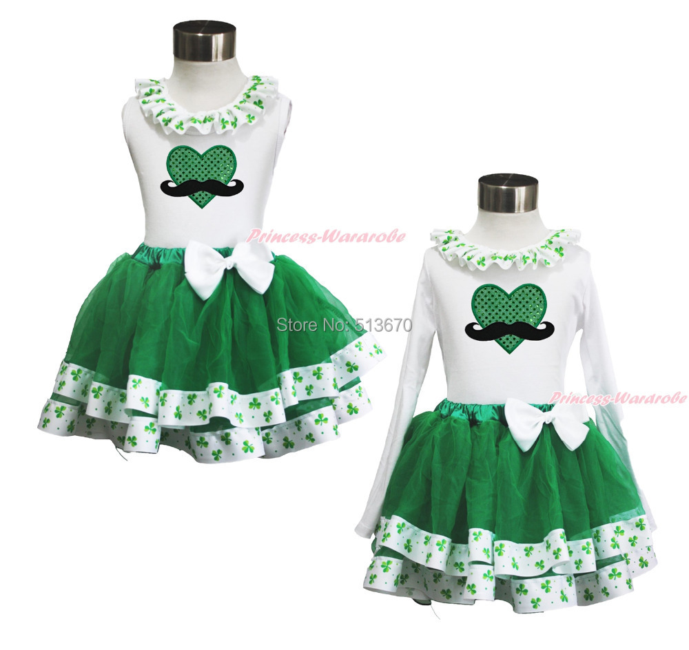 St Patrick's Day Green Mustache Heart White Top Clover Satin Trim Skirt 1-8Year MAPSA0396(Hong Kong)