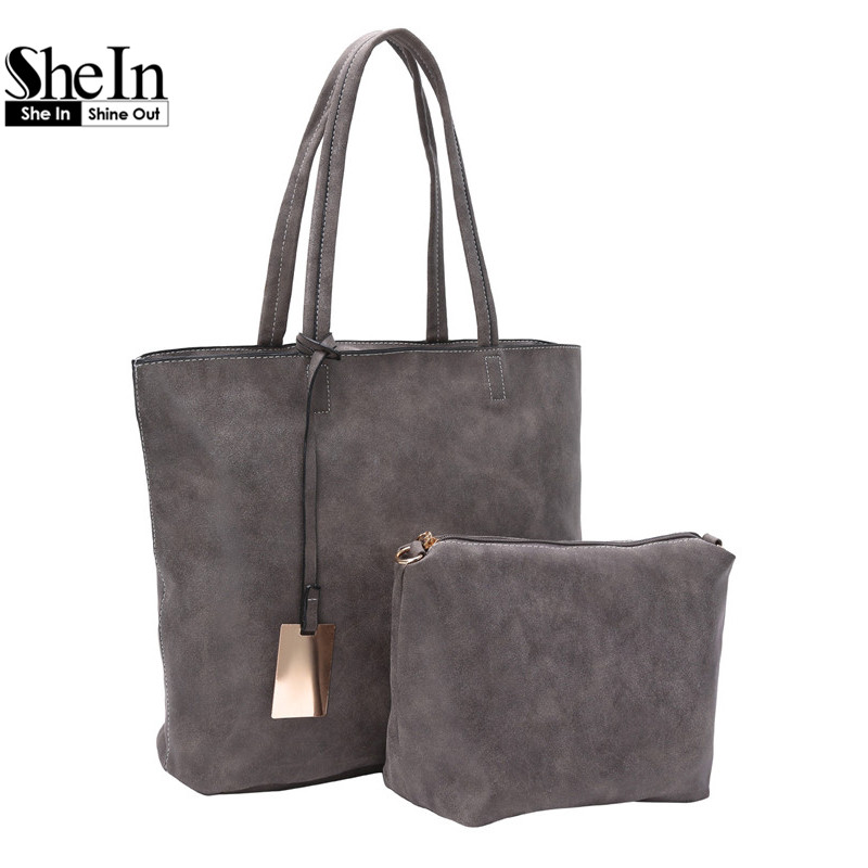 SheIn Famous Designer Brand Bags Women Large Tote Vintage Grey Double Handle Faux Suede Two Piece Bag(China (Mainland))
